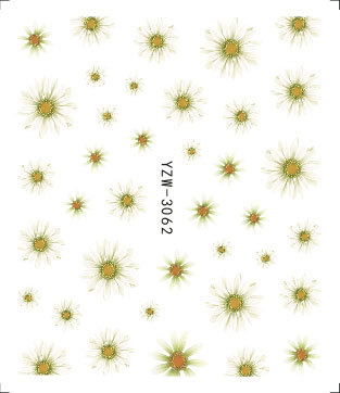 AliExpress Hot Selling Wholesale Environmentally Friendly Decal Nail Sticker Nail Ornament Yellow Little Daisy