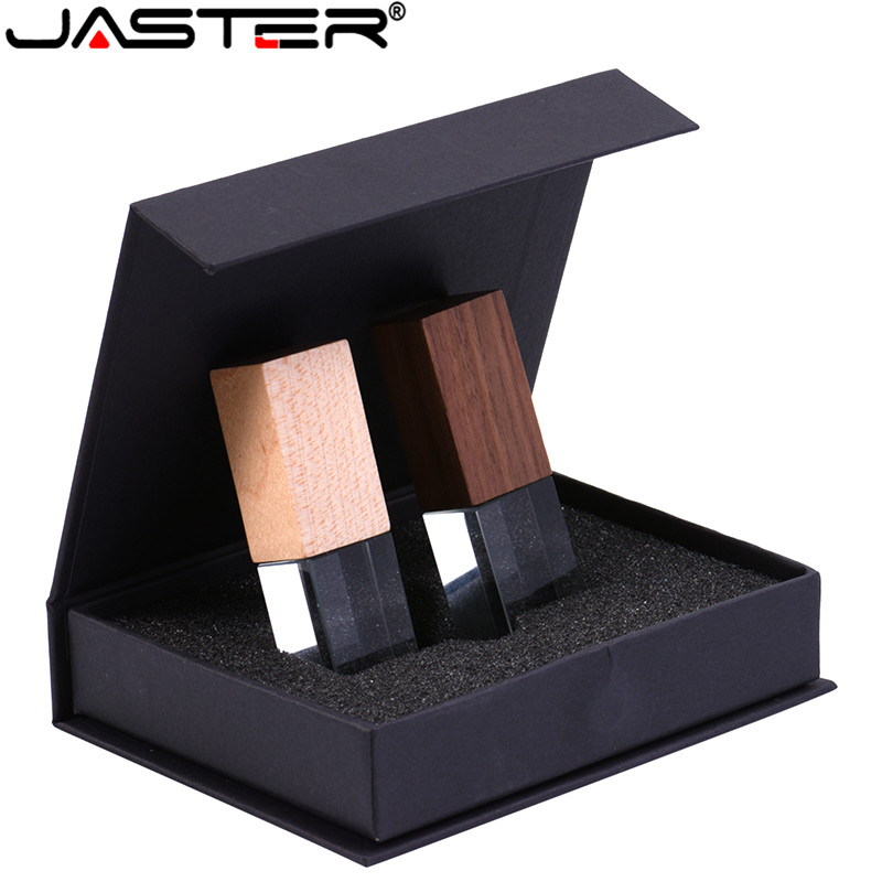 JASTER Walnut Crystal Usb 2.0 4GB 8GB 32GB 64GB 128GB Memory Flash Stick Pen Drive With Black Packing Box (10 Pcs Free Logo )
