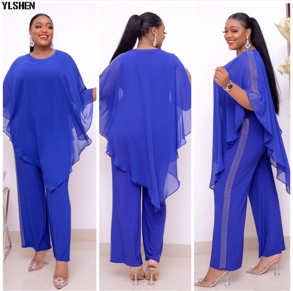 African Jumpsuit Set Dresses For Women Sequined African Clothes New Dashiki Elastic Bazin Baggy Pants Cloak Famous Suit For Lady 06