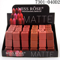 Miss Rose 24PCS/LOT Lipstick Matte Waterproof Makeup Matte Lipsticks Cosmetics Sexy Red Lip Tint Nude Lipstick Matte Batom Lips