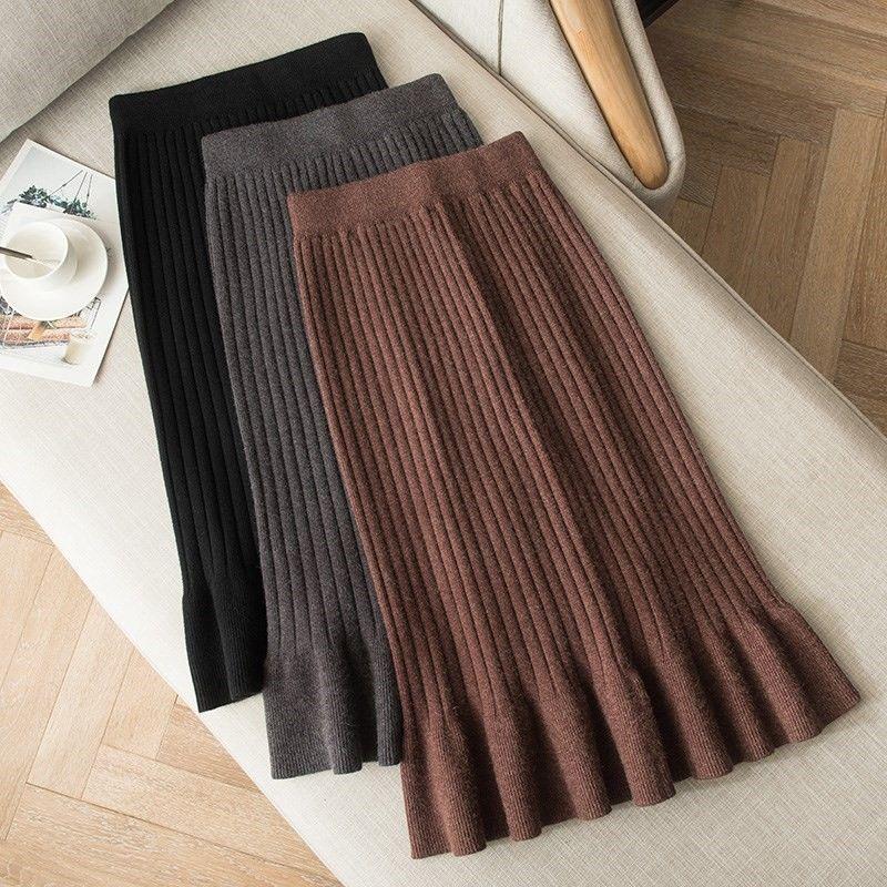 Женские юбки размера плюс шерсть длинная юбка-годе на осень и зиму, с высокой талией, все-матч вязаный с мешковатой юбкой в стиле хип-хоп для ...