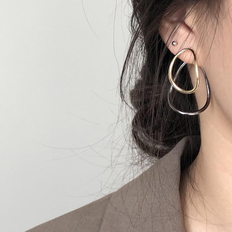 Купить женские двухслойные серьги гвоздики с металлическим покрытием