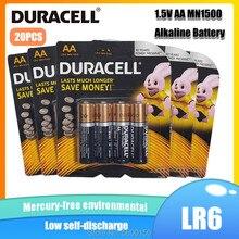20 adet orijinal DURACELL 1.5V AA alkalin pil LR6 oyuncak uzaktan kumanda için alın termometresi el feneri kuru birincil pil