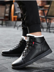 UPUPER 2019 Winter Leather Ankle Boots For Men Shoes With Fur Plush Warm Winter Snow