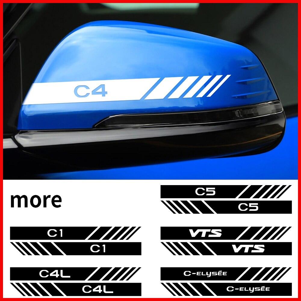 2 шт. наклейки для украшения автомобиля зеркала заднего вида отражательные переводные наклейки для Citroen C1 C3 C4 C4L C5 C6 VTS C-ELYSEE аксессуары
