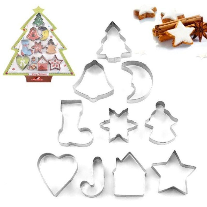 Silver Christmas tree moon bell shape Baking Tools Biscuit Mold Cookie Cutter Cake Decoration 10pcs/Set Stainless Steel mold