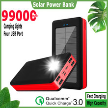 Banco de energia solar 99000mah ao ar livre led powerbank grande capacidade carregador portátil 4usb carregamento rápido para samsung xiaomi iphone