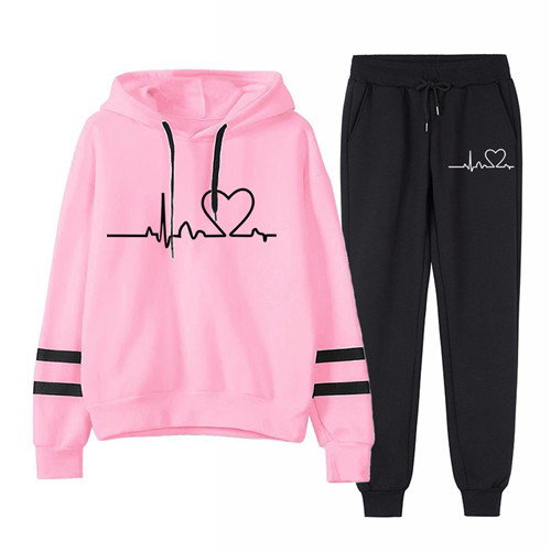 Women Tracksuit Pullovers Hoodies and Black Pants Autumn Winter Suit Female Solid Color Casual Full Length Trousers Outfits 2021 19