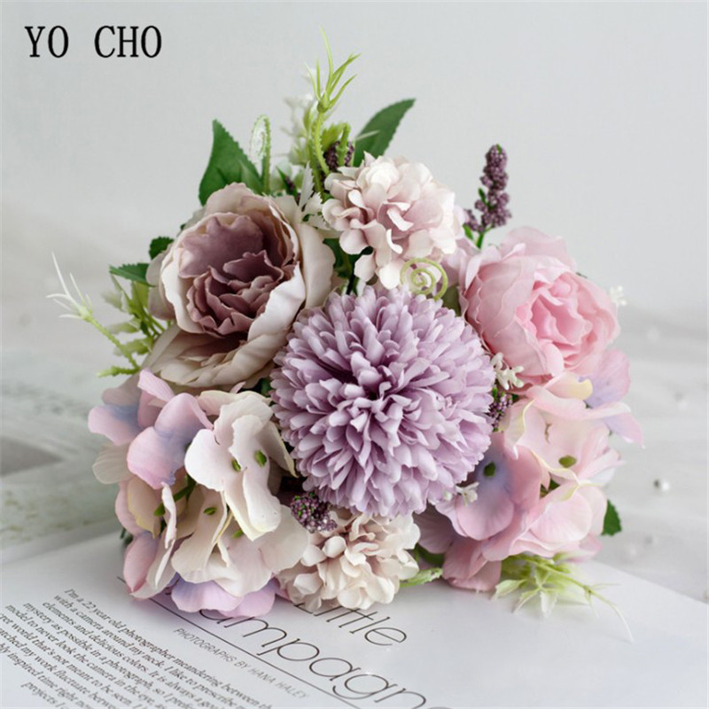YO CHO Big Roses Hydrangea Artificial Flowers For Wedding Bouquet Home Decoration Rose Silk Bouquet Fake Flowers Head Plast Stem