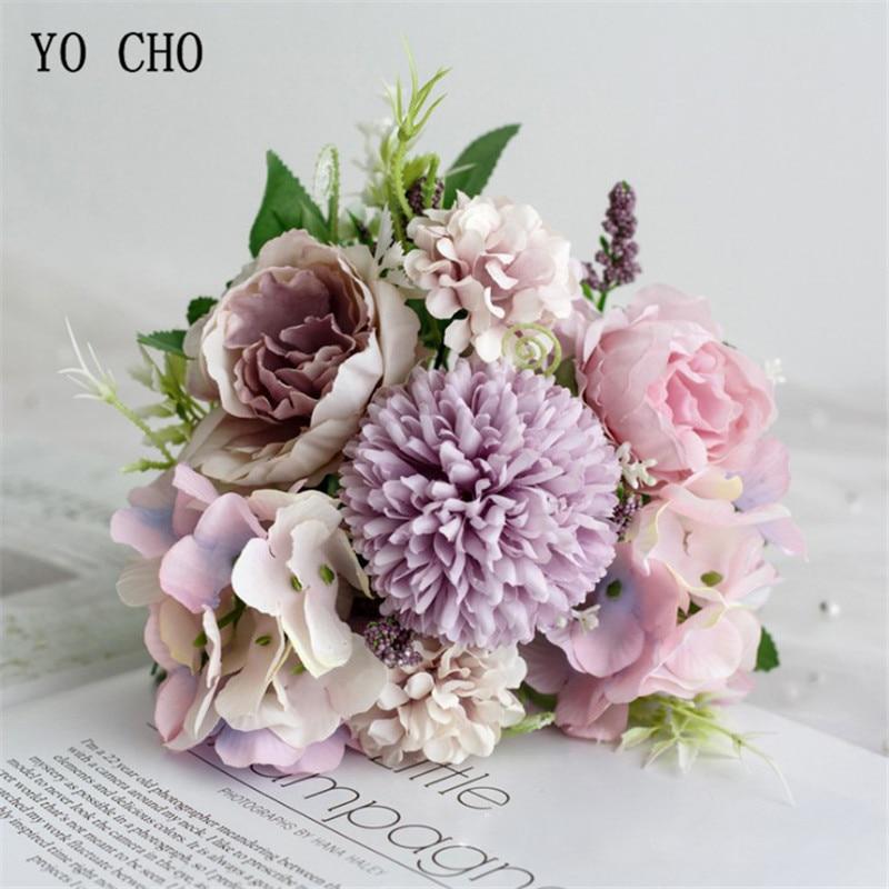 YO CHO Big Roses Hydrangea Artificial Flowers For Wedding Bouquet Home Decoration Rose Silk Bouquet Fake Flowers Head Plast Stem