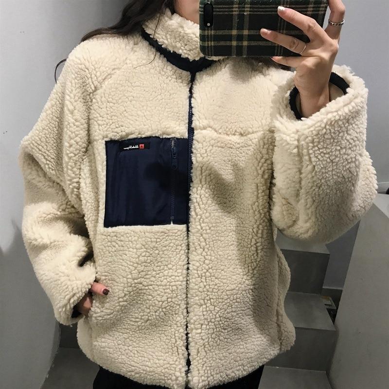 Зимний новый стиль, корейский стиль, Ретро стиль, свободный крой, воротник стойка, молния, толстая флисовая куртка|Куртки|   | АлиЭкспресс