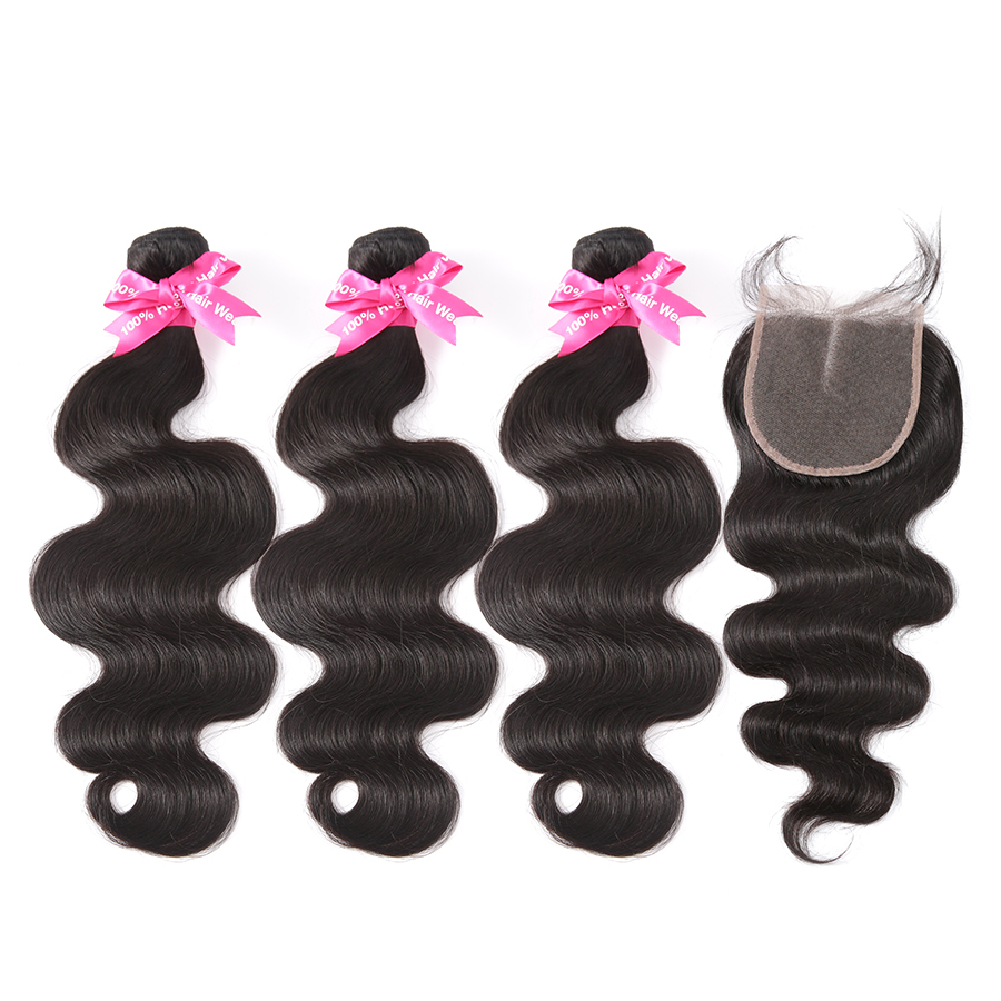 Halo hair 3 4 Bundles Brazilian Body Wave Bundles With 5x5 Lace Closure Double Weft Non-Remy Human Hair low ratio