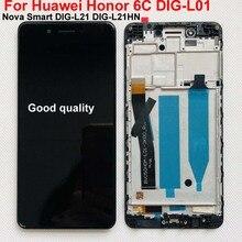 テスト IPS オリジナル Lcd ディスプレイ Huawei 社の名誉 6C DIG L01/ノヴァスマート DIG L21 DIG L21HN タッチスクリーンデジタイザアセンブリ + フレーム