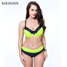 цена на New Sexy Plus Size Bikini Women Solid Patchwork Swimsuit Push Up Halter Backless Padded Bathing Suit 48-56 Low Waist Bikini Set