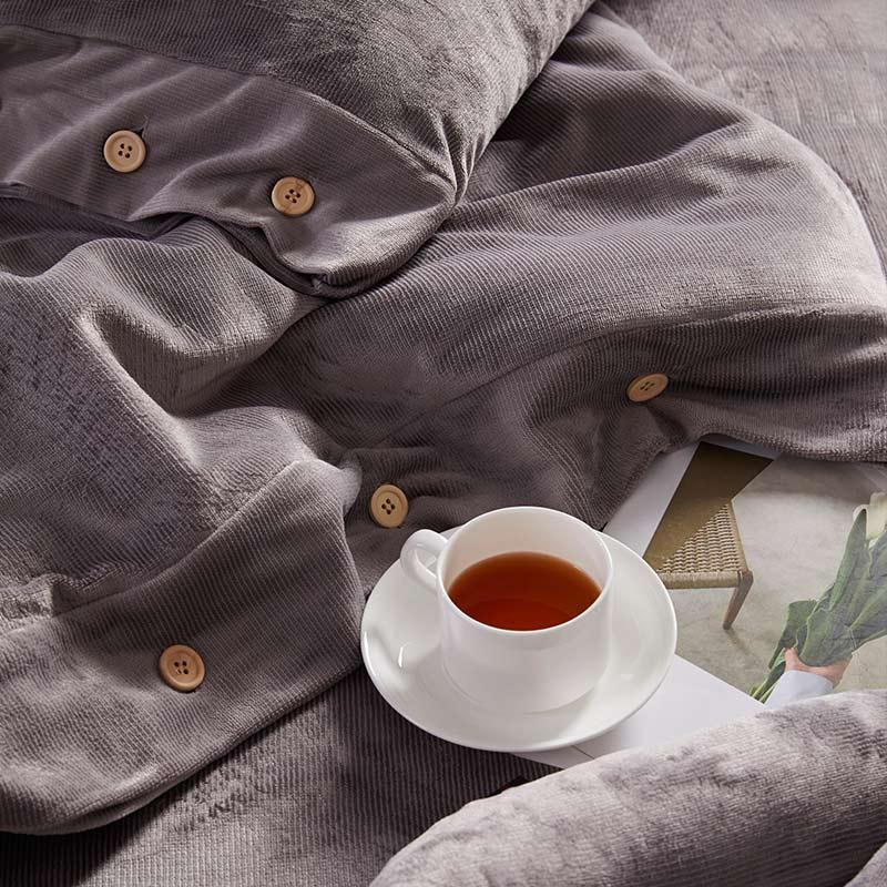 Couverture de lit de beauté Pure quatre ensembles de mode Simple atmosphère Style vin rouge doux respirant couverture couverture de couette de couleur unie - 6