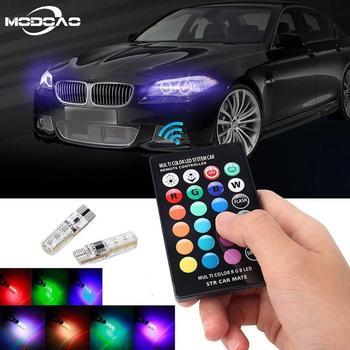 цена на 2Pcs T10 RGB LED Car Light LED Bulbs W5W RGB With Remote Control 194 168 501 Strobe Led Lamp Reading Lights White Red Amber 12V
