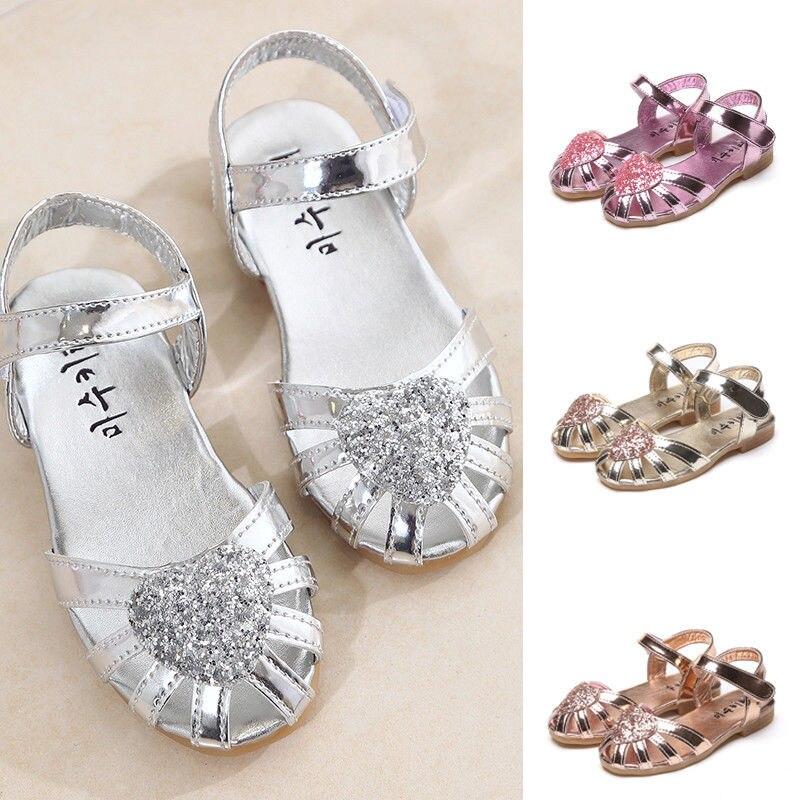 Kid Girl Ballet Shoes Ankle Strap Flat Sequins Sandals Party Dress Princess Shoe Sandals     - title=
