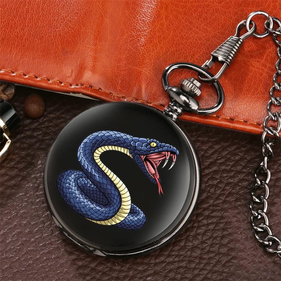 Cool Snake Display Quartz Pocket Watch With Pocket Chain Analog Arabic Numerals Dial Fob Pendant Clock Gifts Reloj De Bolsillo