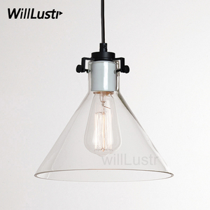 Image 1 - Clear Glass Funnel Pendant Light Transparent Vintage Lamp Edison Filament Bulb American Restaurant Hotel Dinning Room Lighting