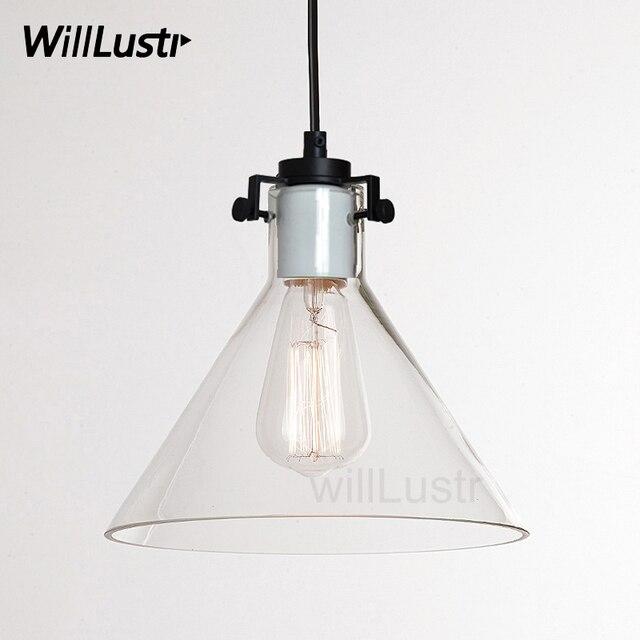 Clear Glass Funnel Pendant Light Transparent Vintage Lamp Edison Filament Bulb American Restaurant Hotel Dinning Room Lighting