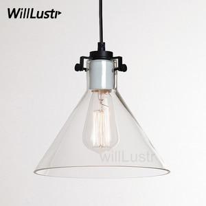 Image 1 - Temizle cam huni kolye ışık şeffaf Vintage lamba Edison ampul filamanı amerikan restoran otel yemek odası aydınlatma