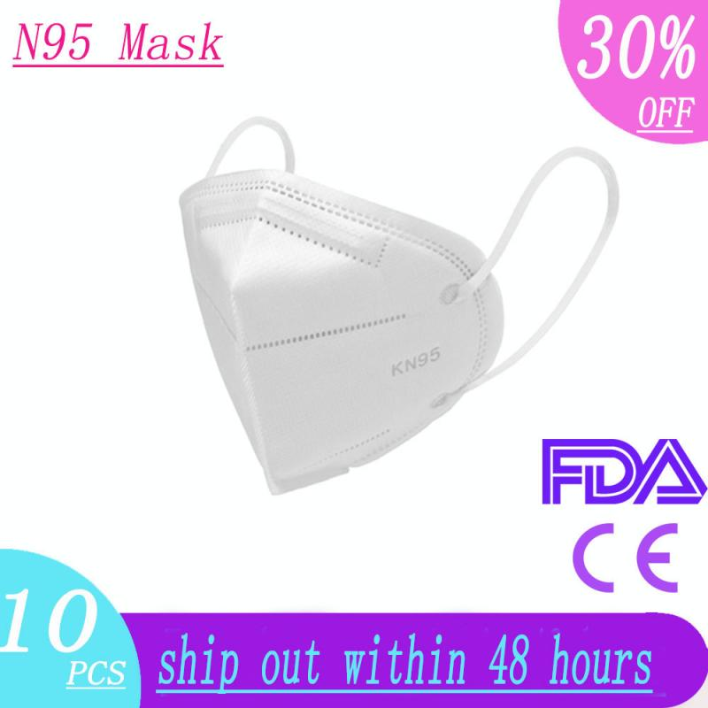 10pcs N95 Mouth Respirator Anti PM2.5 Protective Mouth Masks 6 Layers Mask Bacteria Proof Anti Infection FEE2 Masks Particulate