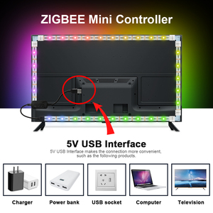 Image 5 - GLEDOPTO zigbee  controller mini smart TV LED strip light kit 5V usb rgb+cct computer LED strip light work with zigbee hub echo