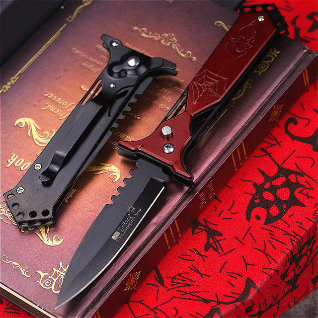 Black style  U.S classic 7CR18MOV steel S outdoor folding knife portable quick open sharp outdoor rescue folding knife EDC tool 2