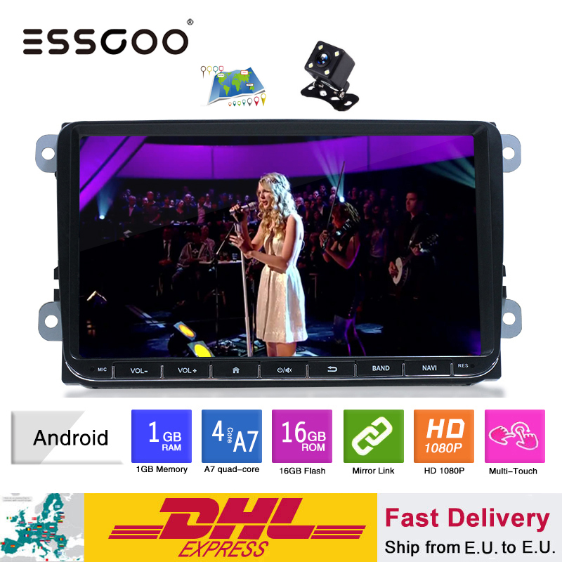 Essgoo <font><b>Android</b></font> 9 ''Auto Multimedia-Player GPS Navigation 1 <font><b>Din</b></font> Autoradio 1din Stereo Video MP5 Auto Radio Für Volkswagen Universal image