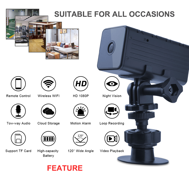 HD 1080P <font><b>WIFI</b></font> <font><b>Camera</b></font> Wireless Cloud Storage Loop Video Recorder 120 Degree View IR Night Vision Built-in Battery <font><b>Mini</b></font> Camcorder image