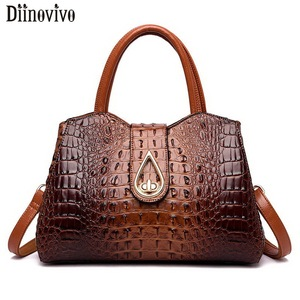 Image 1 - DIINOVIVO Vintage Crocodile Ladies Handbags High Quality PU Leather Women Shoulder Bags Famous Brand Crossbody Bag New WHDV1225