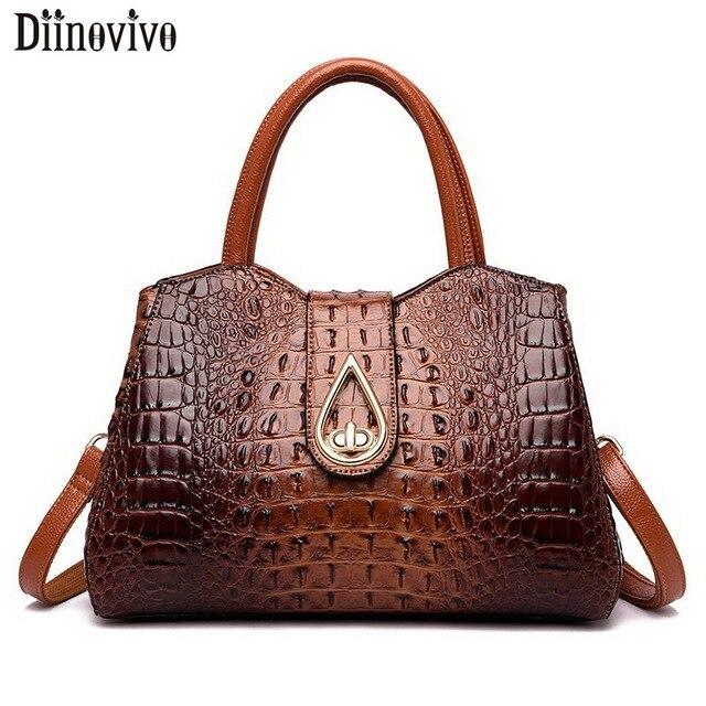 DIINOVIVO, bolsos de mano Vintage de cocodrilo para mujer, de piel sintética de alta calidad, bolsos de hombro para mujer, de marca famosa bolso cruzado, nuevo WHDV1225