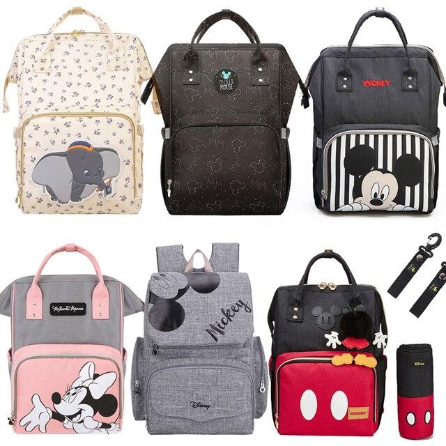 Disney Minnie mumya analık bez torba büyük kapasiteli bebek Mickey Mouse bebek bezi çantası seyahat sırt çantası hemşirelik çanta bebek bakımı için