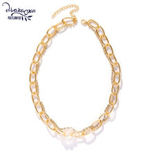 Dvacaman Punk Layered Metal Chain Pearl Choker Gold Necklace Maxi Large crystal Pendant Necklace Beaded Metal Jewelry Wholesale(China)