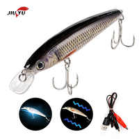 Carp Rocker isca artificial Electric Minnow Wobblers Fishing Lures Hard Baits Slow Sinking USB Rechargeable Flashing LED Light