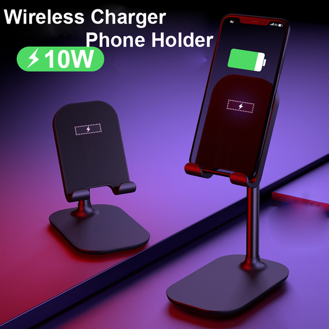 Phone Qi Wireless Charger Stand For iPhone X 11 Pro Samsung Xiaomi 9 Wireless Charger Holder Phone Tablet Mount for iPad Stand