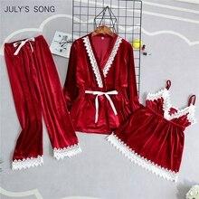 Julys SONG 패션 벨벳 3 조각 여성을위한 따뜻한 잠옷 섹시한 레이스 슬링 잠옷 세트 겨울 잠옷 긴 소매 Nightwear