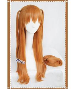 Image 4 - Парик для косплея Langley Soryu АСУКА из аниме, Длинные оранжевые термостойкие синтетические волосы с 2 зажимами для конского хвоста, с шапочкой