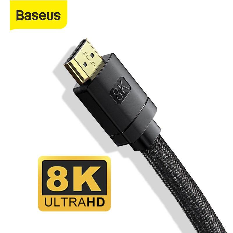 Baseus 8K HDMI uyumlu kablosu için Xiaomi Mi kutusu 8K/60Hz 4K/120hz 48Gbps dijital kabloları PS5 PS4 dizüstü bilgisayarlar monitör Splitter