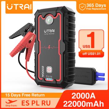 UTRAI 22000mAh 16000mah urządzenie do uruchamiania awaryjnego samochodu zasilacz przenośny wzmacniacz do akumulatora samochodowego ładowarka 12V urządzenie zapłonowe rozrusznik samochodowy Diesel tanie i dobre opinie THiEYE 20 000-30 000 1200 A 85 ~ 90 Rohs CN (pochodzenie) 12 v Oświetlenie Rozrusznik zapalniczek do papierosów światło ostrzegawcze