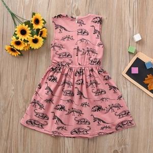 Maluch niemowlę dziewczynek sukienka kreskówka sukienki z nadrukiem dinozaura odzież stroje