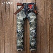 цены 2020 Fashion  Retro Jeans Knee Rap Hole Zipped Biker Jeans Men Loose Slim Destroyed Torn Ripped Denim Man Jeans