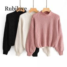 Rubilove 2019 Autumn Winter Women Turtleneck Sweater Knitted Pullovers Knitwear Female Jumper Pull Femme