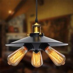 Smuxi E27 Retro Hanglamp Industriële Vintage Opknoping Ijzeren Hanglamp Lampen Lamp AC110V-220V 3 Heads Black Shell