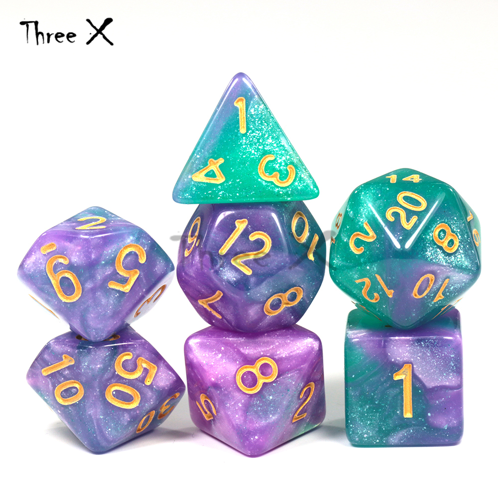 High Quality 15 Color Creative Universe Galaxy Dice Set Of D4-D20 Glitter Powder Amazing Effect For DND RPG