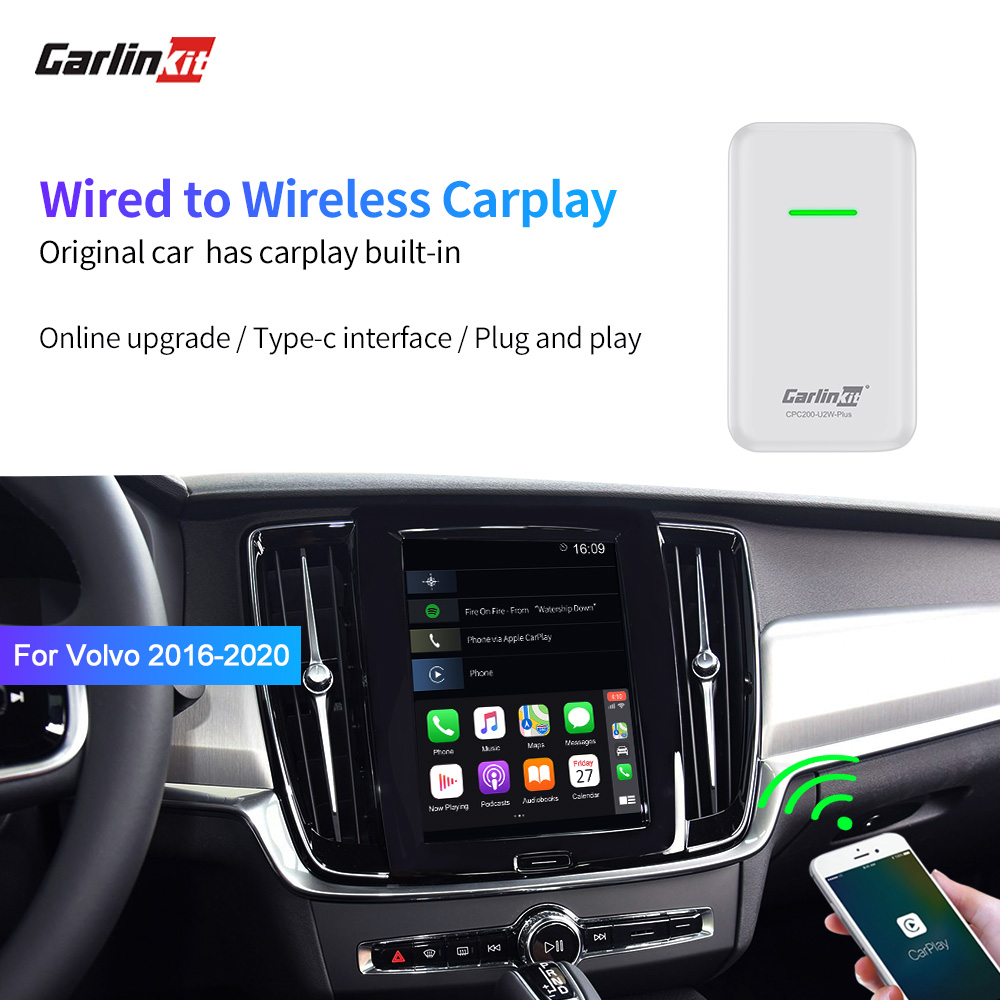 Carlinkit CarPlay Wireless Activator For Volvo XC90 S90 V90 XC60 V60 Original Car Has Wired Carplay Built-in Wired To Wireless