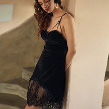 Womens Velvet Sleeping Dress Deep V Beauty Back Cross Lace Hollow out Seduction Suspenders Nightgown Nightdress Home Clothes