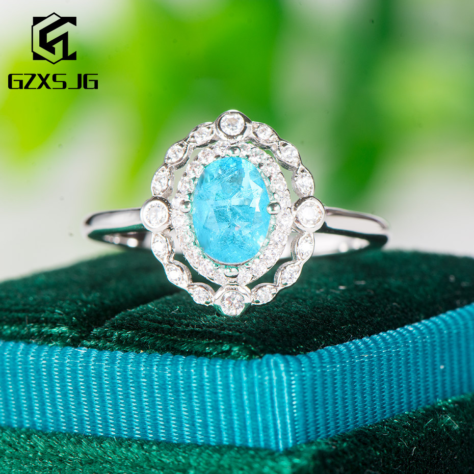 GZ Paraiba Tourmaline Gemstone Ring For Women Solid 925 Sterling Silver Oval Blue Stone Handmade Ring For Engagement Anniversary