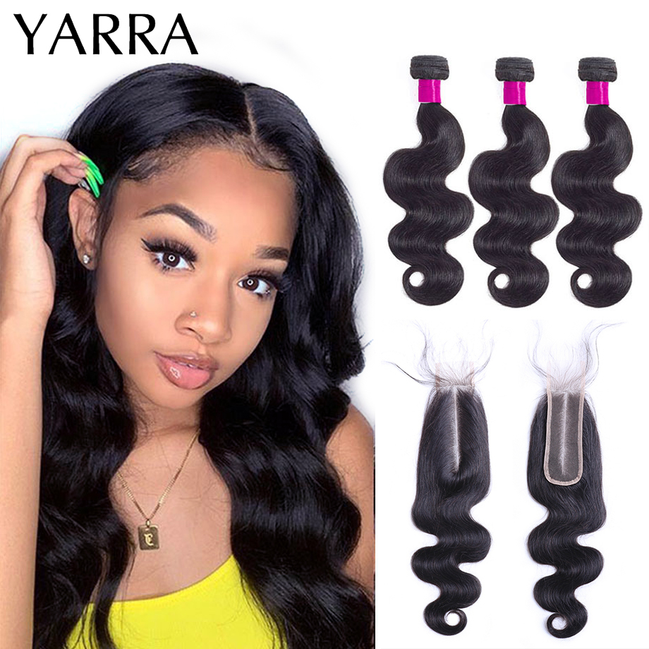 Peruvian Body Wave Bundles with Closure Pre Plucked 100% Human Hair Bundles with 2x6 Closure for Black Women Remy Hair Yarra
