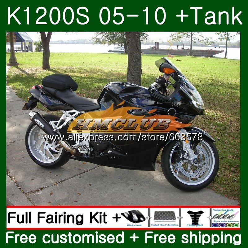 Pour BMW K 1200 S K 1200 S K1200S 05 06 07 08 09 10 38CL. 22 noir Brillant K1200 S K-1200S 2005 2006 2007 2008 2009 2010 Carénage